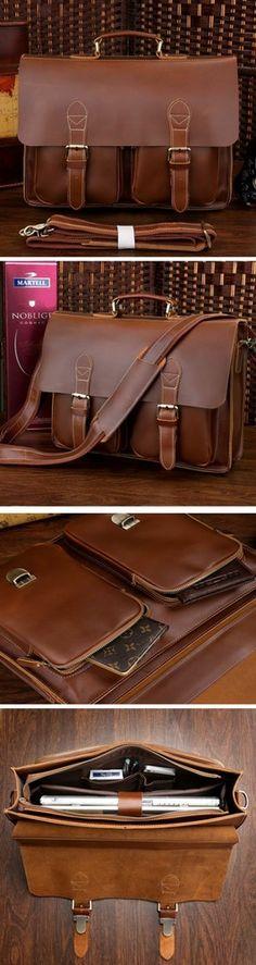 "Handmade Leather Briefcase Messenger Bag 13"" 15"" MacBook 14"" 15"" Laptop Bag"