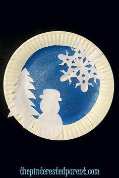 Paper plate winter scene silhouettes - winter crafts for kids Paper Plate Crafts For Kids, Winter Crafts For Kids, Art For Kids, Winter Thema, Winter Szenen, January Crafts, Pinterest Crafts, Theme Noel, Classroom Crafts