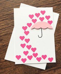 Valentine's Day Card / 'Raining Hearts' Handmade Wedding Cards / Blank Greeting Card / Note Card – Valentinstag Valentines Day Cards Diy, Valentine Crafts, Homemade Valentine Cards, Printable Valentine, Valentine Box, Valentine Ideas, Homemade Birthday Cards, Homemade Cards, Wedding Cards Handmade