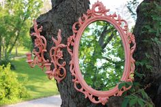 Coral Ornate Mirror and Wall Sconces. Matching Set. Syroco