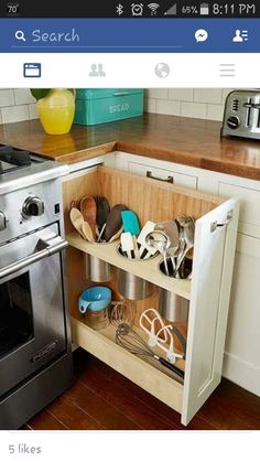 ... House The Kitchen Aide Mixer Too. Pull Out Utensil Bin, Right Next To  The Stove, Is A Clever Alternative To The Traditional Corner Cabinet Lazy  Susan.