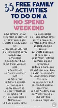 35 Fantastic Free Family Activities For Your Weekend Best Free Family Activities to Have Fun Without Spending Money Do not Spend Weekend With Kids Free Fun With Kids via Kids And Parenting, Parenting Hacks, Single Parenting, Family Fun Night, No Family, Frugal Family, Family Weekend, Activities To Do, Weekend Activities