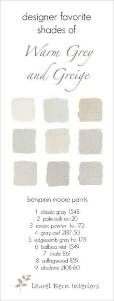 Nine Fabulous Benjamin Moore Warm Gray Paint Colors - laurel home by leticia