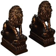 Benzara Polystone Lion Bookend Pair Unique Table and Shelf Decor with Utility >>> See this great product.