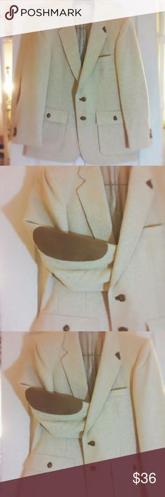 """Men's  Blazer Jacket Sport Coat Gorgeous Men's Oatmeal Blazer Jacket Sport Coat Suede Elbow Patches 2 Button 2 Vent Armpit to Armpit 19 """" Length 29 Brooksfield Suits & Blazers Sport Coats & Blazers"""