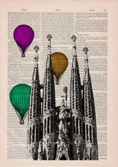 Vintage Book Print Barcelona Sagrada Familia by PRRINT on Etsy