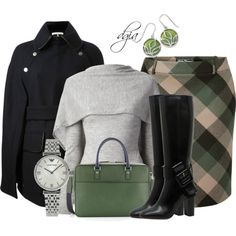 Winter Outfits - sweaters, jackets, boots, skirts, bags, watches, earrrings