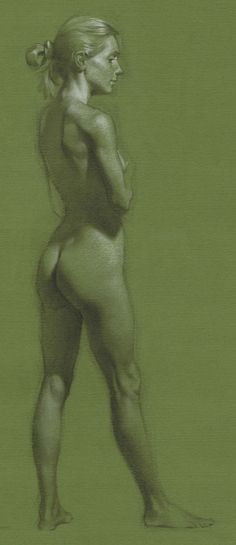 Ameral Andrew nude female posterior back charcoal and chalk drawing on green paper