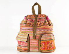 Hippie Leisure Backpack Vintage Ethnic Embroidered by TaTonYon, $40.00