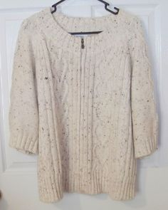 Ladies Dress Barn Woman Sweater Size 1X Cream Tan Plus Sz Zip-up Off-white…