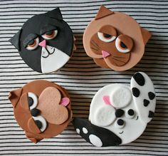 cat and dog cupcakes: decoration tutorial