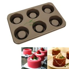 High quality 6 Cups Nonstick Carton Steel 3D Mini Cupcake Bakeware,Jelly Pudding Mould Chocolate Pastry Cake Mold Baking Tools