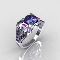 Modern Edwardian 14K White Gold Alexandrite Designer Bridal Ring R85-14KWGAL. $999.00, via Etsy.