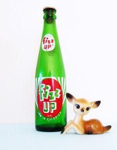 Vintage Soda Pop Bottle / Collectible Glass Soda Bottle / Novelty Vintage Decor / Fizz Up Soda