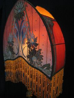 Antique Floor Lamp Shade Arts & Crafts handmade Art deco/Art Nouveau lampshade Beaded fringe