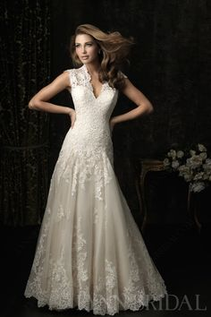 Vintage Queen Ann Cap Sleeves Open Back Tulle Lace Wedding Dress