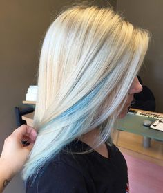 Blue Peek-a-Boos on Icy Blonde
