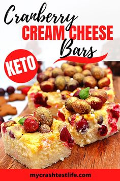 Keto Cranberry Cream Cheese Bars are a combination of a coconut crust bursting with tart cranberries in a creamy filling. The perfect combination for the upcoming Holidays! #keto #glutenfree #holidaydessert #freshcranberries #creamcheese #easy #onebowl #15minuteprep