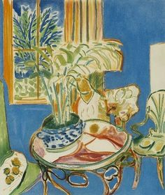 ◇ Artful Interiors ◇ paintings of beautiful rooms - Henri Matisse  Little Blue Interior  20th century
