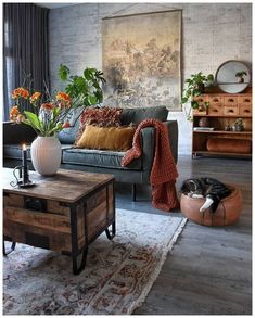 48 Stunning Spring Living Room Decor Ideas To Refresh Your Mind. 48 Stunning Spring Living Room Decor Ideas To Refresh Your Mind. The living room is the spot in our homes where we invested our energy for sitting in front of the […] Eclectic Living Room, Living Room Interior, Home Living Room, Apartment Living, Home Interior Design, Living Room Designs, Eclectic Decor, Industrial Living Rooms, Warm Colours Living Room