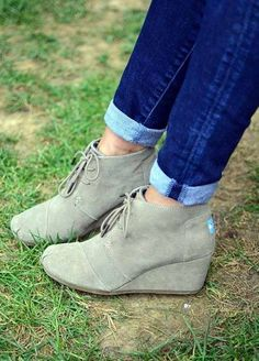 Toms grey bootie wedges <3 love these!! tons more style too, and with a student discount