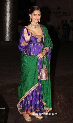 Sonam Kapoor in Blue deep Neck Anarkali Churidar Salwar Kameez by Anuradha Vakil-PakeezaAnchal.com