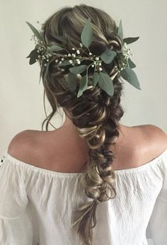 wedding hair with greenery