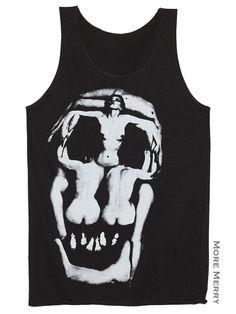 ac8f45c823dee5 Salvador Dali Skull Charcoal Black Tank Top Women by ShirtByHome
