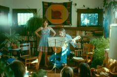 1970's Design, Fashion, Style - London artist Daria Martin (then, 4 yrs-old) in the tigerstripes on the righthandside.  The guitarist/tenor is now a software engineer; the soprano, a pharmaceutical researcher.  Berkeley, 1976.
