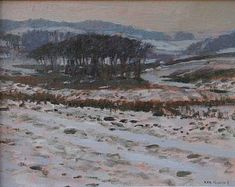 Ken HOWARD - Dartmoor Snow a winter landscape paintings at the #redrag art gallery.