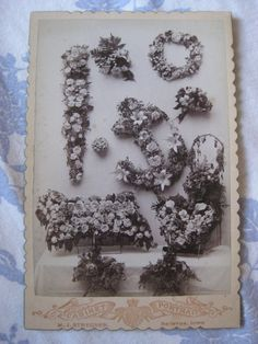 Antique Cabinet Card Photograph Photo Floral Arrangements Mourning Memorial Funeral Anchor Brother