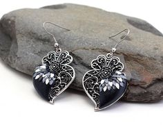 Your place to buy and sell all things handmade Filigree Earrings, Heart Earrings, Vintage Earrings, Dangle Earrings, Jewelry Box, Jewellery, Shades Of Black, Valentine Day Gifts, Gifts For Mom
