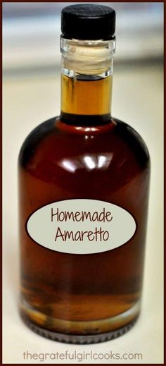 Make homemade amaretto, a sweet Italian almond flavored liqueur inexpensively at home! It's easy, and can be used for cocktails or in other recipes. / The Grateful Girl Cooks! girl Homemade Amaretto / The Grateful Girl Cooks! Cocktail Simple, Cocktail Drinks, Fun Drinks, Yummy Drinks, Alcoholic Drinks, Beverages, Cold Drinks, Cocktail Recipes, Homemade Liqueur Recipes