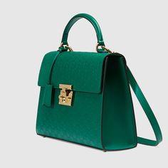 c85a9935b369 Gucci - Sac à main en cuir Signature avec cadenas - vert Gucci Padlock,  Gucci