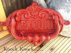 Red Door Knocker / Painted Cast Iron /  by AlacartCreations - Creamy White Ivory