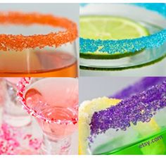Rim glasses with colored sugar to make cocktails look great!