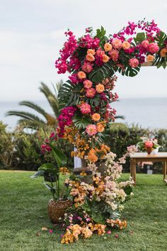 We are on the border between fainting and jumping in the air ecstatically after seeing this whimsical Bel Air wedding with a lush, tropical twist - hello, ombre floral arch! Katrina and Jesse wanted a fun party, and boy did they exceed with a whimsic Wedding Ceremony Decorations, Wedding Themes, Flower Decorations, Wedding Centerpieces, Wedding Colors, Wedding Reception, Arch Wedding, Garden Wedding, Wedding Ideas