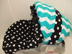 Aqua and white Chevron stripe/black and white dots/infant car seat slip cover set on Etsy, $45.99