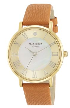 'metro grand' round leather strap watch, 38mm / Kate Spade