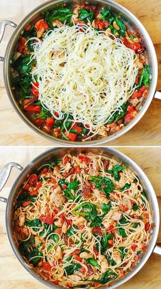 Tomato Spinach Chicken Spaghetti this recipe features pasta fresh tomatoes sundried tomatoes fresh basil spinach garlic and olive oil Its a great Summer pasta recipe Eas. Summer Pasta Recipes, Easy Pasta Recipes, Spaghetti Recipes, Cooking Recipes, Meat Recipes, Healthy Pastas, Healthy Dinner Recipes, Healthy Pasta Dishes, Healthy Chicken Pasta
