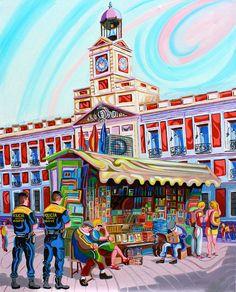 PUERTA DEL SOL (MADRID).Oleo sobre lienzo. 100 x81 x 3,5 cm.