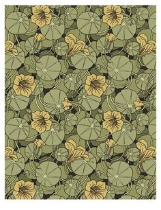 Reproduction of Nasturtium wallpaper by MP Verneuil (c. 1896)