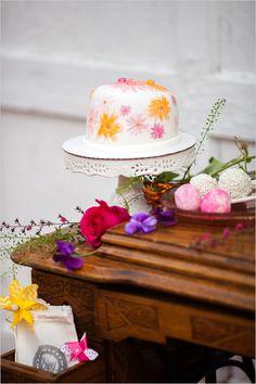Fondant Flower Cake on dessert table  whimsical wedding cake