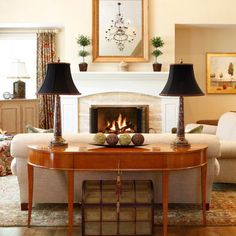 Behind Sofa Table For Your Living Room Traditional Family With Comely Beige Color Also Wooden Couch Charming Black Lamps