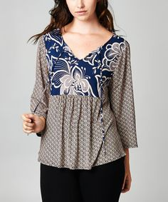Another great find on #zulily! Navy & Taupe Floral Tie V-Neck Top - Plus by Tua Plus #zulilyfinds