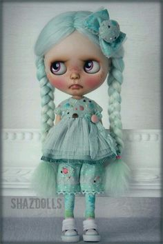 OOAK Spring Summer Minty Outfit for Blythe Doll by Shazdolls