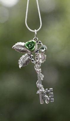 Green Winter Rose Key Necklace by KeypersCove on Etsy