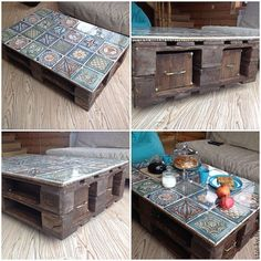 upcycling möbel Best ideas for upcycled furniture pallets, pallets Upcycled Furniture, Pallet Furniture, Furniture Makeover, Furniture Ideas, Decoupage Furniture, House Furniture, Furniture For You, Tile Tables, Diy Casa