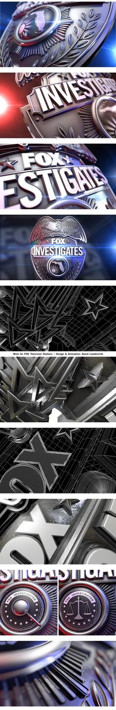 Motion graphics style frame Fox Investigates Badge on Behance Gfx Design, Graph Design, Logo Design, Logos Online, Cinema 4d Tutorial, E Motion, 3d Typography, Creative Visualization, Photoshop