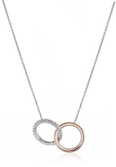 """Roberto Coin """"Tiny Treasures"""" 18k Rose and White Gold Diamond Entwined Circles Pendant Necklace (1/10cttw, G-H Color, SI1 Clarity), 16"""" + 2"""" Extender Each piece of Roberto Coin Jewelry contains a tiny hidden synthetic ruby. According to ancient Read more http://cosmeticcastle.net/roberto-coin-tiny-treasures-18k-rose-and-white-gold-diamond-entwined-circles-pendant-necklace-110cttw-g-h-color-si1-clarity-16-2-extender/ Visit http://cosmeticcastle.net to read cosmetic reviews"""